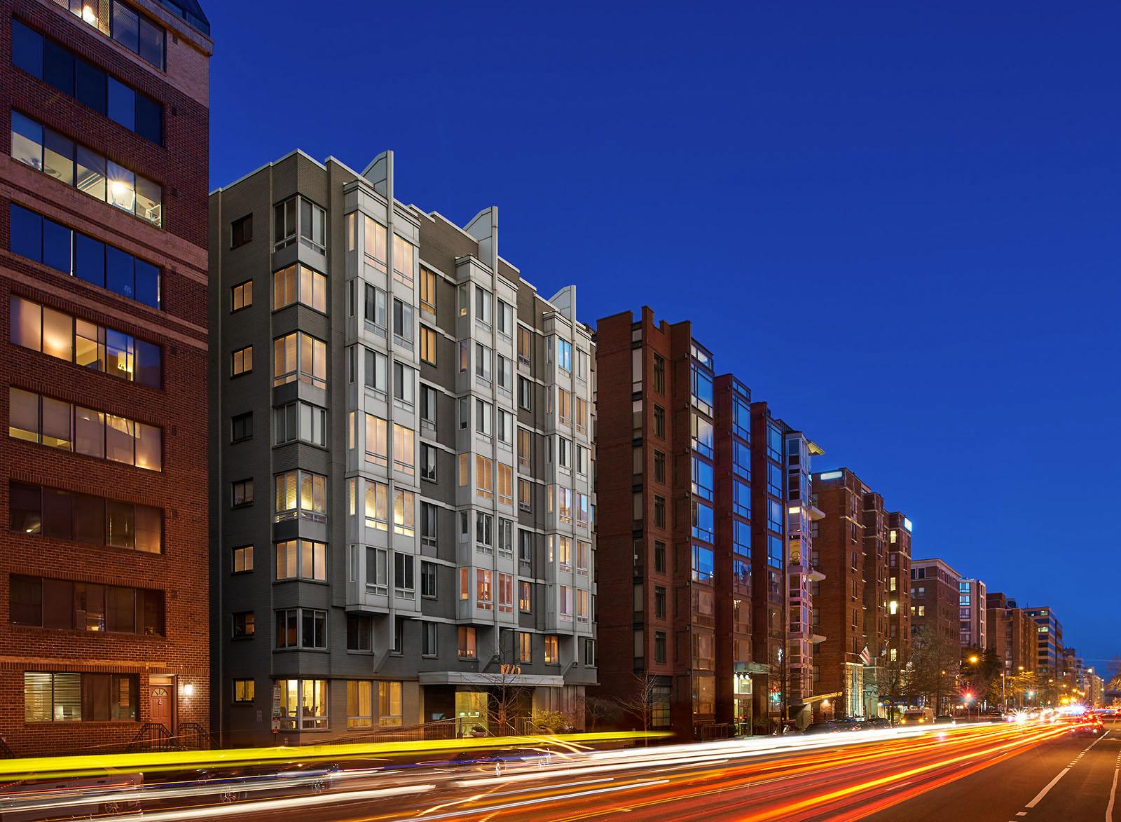 1225 Lofts apartment building at night
