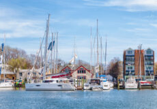 Boats and waterfront buildings at 310 Third Street in Annapolis, Maryland